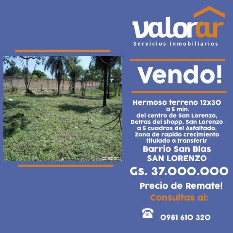 Atencion San Lorenzo  Remato Terreno En San Lorenzo, Barrio San Blas